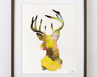 Deer Art Watercolor Painting - 8x10 Archival Print - Colorful Art Deer Antler Stag Silhouette Home Decor Wall Art