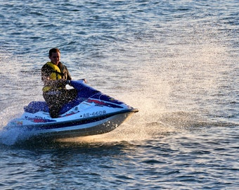 Photo Greetings card, Jetski Spray - A5 greetings card and envelope, blank for your own greeting