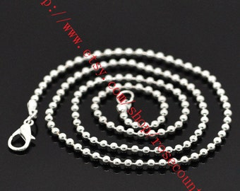 10pcs 14-30 inch Silver plated 2mm Ball chain necklace with lobster clasps