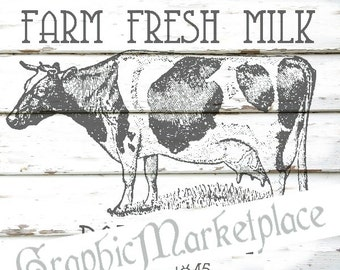 Farm Fresh Milk Cow Instant Download Transfer Pillow Burlap digital graphic printable graphic wood background No. 164