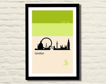 London Poster Art Print 11 X 17 City Skyline, Minimalist, Green