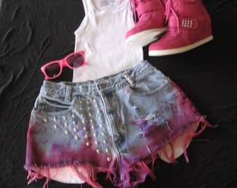 Ombre' Dip Dyed and Studded Shorts