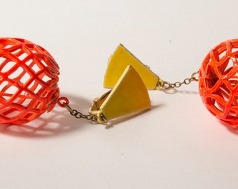 1960s (or 80s) Orange and Yellow Geometric Earrings