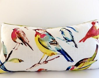 Multicolor Bird Pillow / Richloom Birdwatcher Print / Bird Pillow Cover / Your Choice of Color and Size / Colorful Pillows