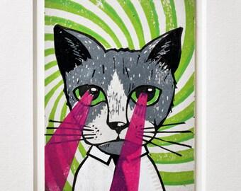 Laser Cat Linocut with Passe Partout