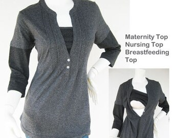 JENNY Maternity Clothes / Nursing Tops / Breastfeeding Top / NEW / GREY Nursing Clothes Maternity Clothing, shirt Nursing tops shirt
