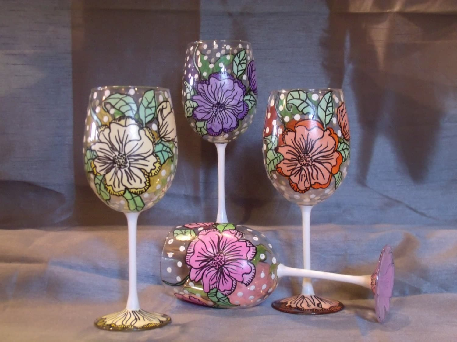 Hand painted wine glasses for Painted wine glasses