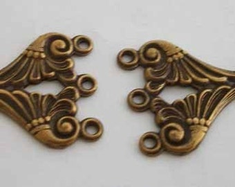 vintage solid brass 3 strand necklace connectors