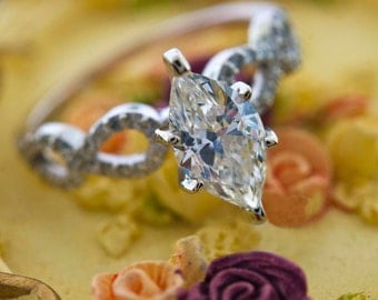 1.30 CT Marquise Diamond Solitaire Engagement Ring14K