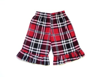 Girls ruffle pant, capri, size 3 4.  Plaid red, black white pageant theme casual ooc wow