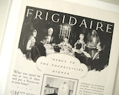 1927 Frigidaire Vintage Ad / Thanksgiving Dinner Print Ad / Home Decor / Ready To Frame / Paper Ephemera