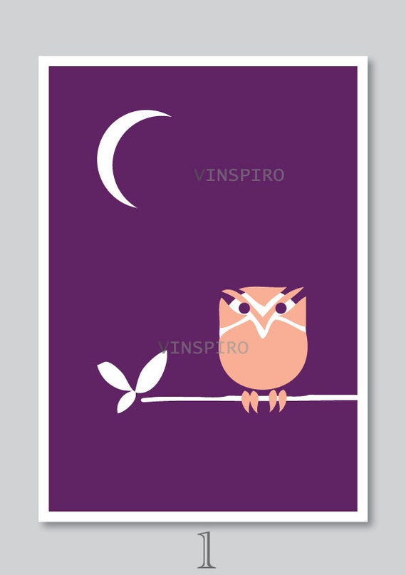 Owl art print, kids, nursery decor, bird illustration, purple, modern, animal, digital graphic, wall art, A4, by Vinspiro