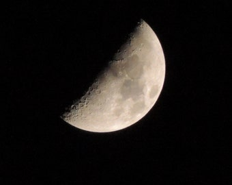 Download-able Digital file of the Moon (Half full) on a Clear Night