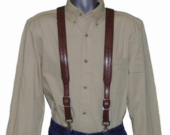 Barbed Wire embossed Brown Leather Suspenders