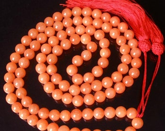 Tibet Light Red Stone 10mm 108 Beads Beaded Buddhism Buddha Prayer Mala Necklace