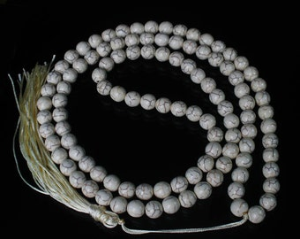 Tibet White Turquoise Stone 10mm 108 Beads Beaded Buddhism Buddha Prayer Mala Necklace