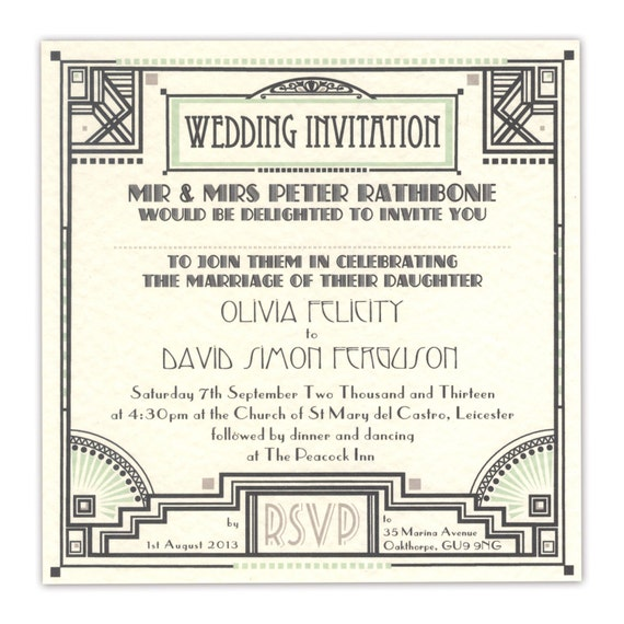 Great Gatsby Wedding Invites: Great Gatsby Square Wedding Invitation Sample