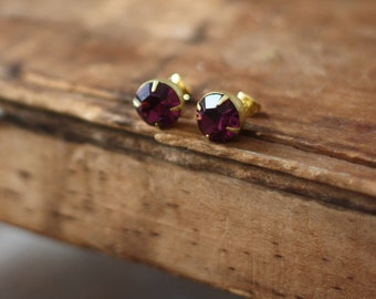 Vintage Purple Rhinestone 9mm Post Earrings