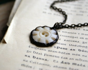 Antique Button Pendant with Soldered Oxidized Setting -- Handmade in Ireland