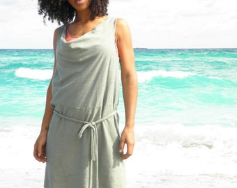 The Goddess mini dress. Organic hemp jersey.