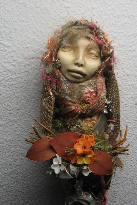 OOAK Gypsy Boho Assemblage  Art Doll by Griselda Cottage Chic