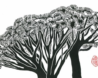 DRAGON TREES PRINT - Linocut Print - 9x13 Landscape Print - Black and White Print