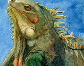 Iguana mini painting Lizard Reptile ACEO ATC Third Eye Watercolor Print Belinda DelPesco