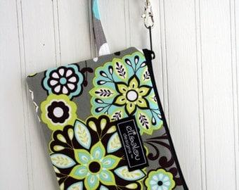 Harvest Bloom Padded wristlet mini purse, iphone6, iphone6 Plus, Galaxy, ipod, cell phone, camera bag