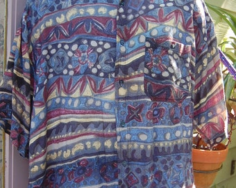 Vintage 80s 90s Hey Man Style and Substance Abstract Tribal Oversize Baggy Short Sleeve Rayon Shirt Size L/XL