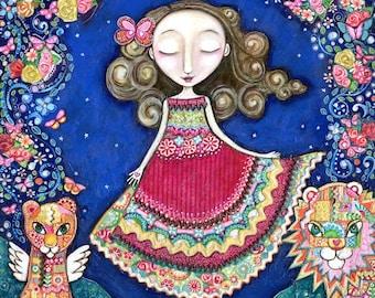 Womens art print patchwork painting lion lioness wall art girls room art for kids whimsical folk art portal spiritual mixed media art.
