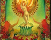 Mother Isis Summer Solstice Solar Goddess 5x7 Blank Card Psychedelic Sun Tarot Pagan Gypsy Goddess Art