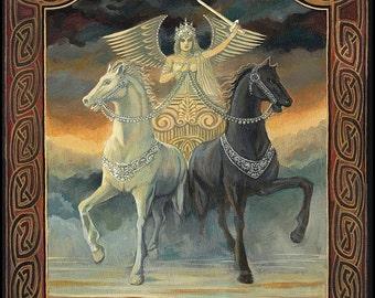 The Chariot Tarot Art 8x10 Fine Art Print Pagan Celtic Mythology Horse Symbolism Goddess Art