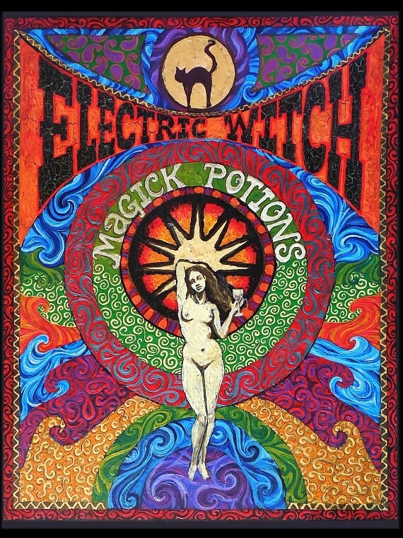Electric Witch Magick Potions Psychedelic Art 5x7 Blank Greeting Card Gypsy Goddess Art
