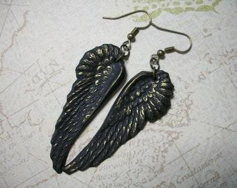 Golddust Raven Crow Black Wings earrings gothic jewelry