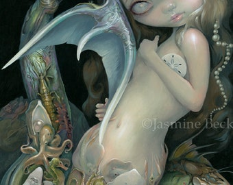 Arcimboldo Mermaid sea creatures fish surrealism fairy art print by Jasmine Becket-Griffith BIG 18x12