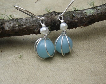 Small Amazonite and Fresh Water Pearl Earrings, Sterling Silver Wire Wrapped Beads Stone Earrings, Little Jewelry, Women