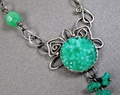 Green Garden Necklace - Sterling Silver and Vintage Glass - One of a Kind Statement Necklace