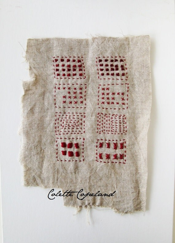 Items similar to hand embroidery on vintage linen sampler