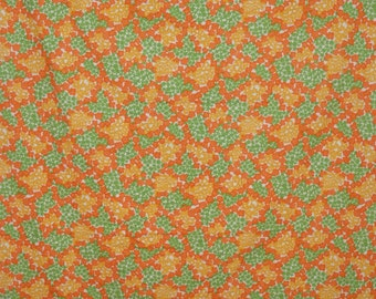Vintage 1970s Orange Yellow and Green flowers fabric