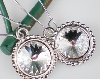 SALE Crystal Rivoli Rhinestone Earrings Swarovski Jewelry