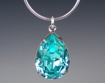 Rhinestone Necklace Light Turquoise Swarovski Aqua Teal Wedding Jewelry Bridesmaid Jewelry