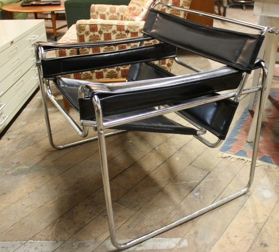 REDUCED Wassily Wasilly Chair Chrome Black Leather Like  Mid Century  Modern Style 1960s Retro Side Chair