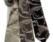 Dinosaur tie. Dinosaur skeleton men's necktie. Paleontologist gift, archeology gift. Warm cream screen print. Your choice of color & size.