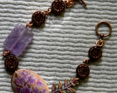 Lavender Amethyst and Copper Crystal Links Bracelet