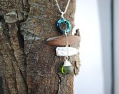 Wire wrapped wooden crystal necklace - Organic simplicity