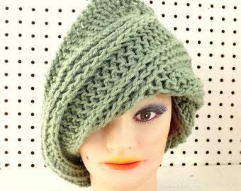 Womens Crochet Hat, Womens Hat, Steampunk Hat, Crochet Beanie Hat, Sage Hat, Sage Green Hat, Judy Green Beanie Hat Women