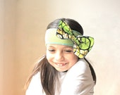 SALE Upcycled Bow Headband Butterfly  in Lime Green and Batik  - One of a Kind