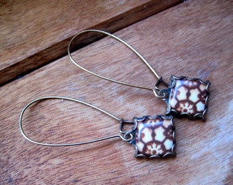 Iberian tiles of Portugal and Spain, Moorish and Berber cabochon, long Brown earrings, Moroccan jewelry, North African, free gift wrap