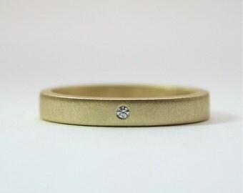 18 Karat Yellow Gold Tiny Diamond Ring - 3 mm Matte Finish Gold Ring - Wedding Ring - Gold Wedding Band - Diamond Engagement Ring - Artisan