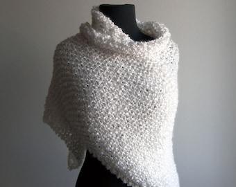 Custom Hand Knit Triangle Shawl Scarf Wrap, True White, Soft Acrylic, Wedding Bridal, Prayer Meditation Comfort, Bed Jacket, FREE SHIPPING